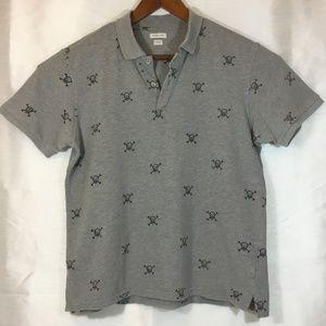 Men's Skull & Cross Bones Gray Polo Shirt Size Lg